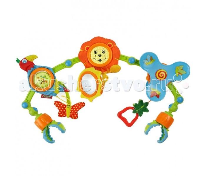 Tiny Love Дуга-трансформер Музыкальные джунглиДуга-трансформер Музыкальные джунглиДуга-трансформер Tiny Love Музыкальные джунгли для малышей с рождения. Дуга с подвесными игрушками подходит к любой коляске, может быть закреплена на детской кроватке, автомобильном кресле. Удобно устанавливается благодаря уникальной конструкции - с угловыми регуляторами.  Красочность игрушек, различные материалы (разные типы пластика и множество тканевых фактур), звуки погремушек и шуршалок подарят малышу массу удовольствия!  Дуга-трансформер способствует двум стадиям развития:  1. с первых дней (совершаем удары и наблюдаем за происходящим) 2. с 5 месяцев (хватаем игрушки и прослеживаем причинно-следственные связи).  Сделана в виде дуги, на которую крепятся львенок, попугайчик и пропеллер. У левы шуршит грива, поэтому ее приятно трогать ручками. К хвостику львенка крепится музыкальная игрушка в виде солнышка с зеркалом по центру. Попугай тоже развлечет малыша шуршащими элементами, а тельце у него – прозрачный шар с цветными бусинами внутри. На пропеллере с картинками висит сочная ягодка-прорезыватель. Бабочка-шуршалка крепится как к попугайчику, так и к львенку. Дуга благодаря 4 подвижным шарнирам может трансформироваться, меняя высоту и расположение. Ее крепление происходит с помощью зажимов. Дуга-трансформер Музыкальные джунгли способствует развитию цветового восприятия, слуха, осязания. У ребенка в процессе игры развивается мелкая моторика и тактильные ощущения.  Материал: ткань - полиэстер, наполнитель - полипропилен, с элементами из пластмассы.  Длина дуги: 57 см Размер игрушек: диаметр львенка - 12 см, размер солнышка – 10х10х4 см, размер попугая – 16,5х8,5х5 см, диаметр пропеллера – 15 см  Размер упаковки: 30 x 50 x 7 см  Вес: 500 г  Для работы игрушки необходимы 3 батарейки типа LR44x1,5B (в комплект не входят).<br>