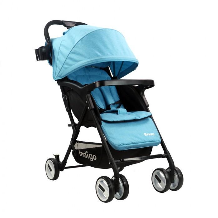 Прогулочная коляска Indigo BravoПрогулочные коляски<br>Прогулочная коляска Indigo Bravo предназначена для детей с 6 месяцев и до 3-х лет.  Легкая и комфортная коляска в стильном дизайне подходит для ежедневных прогулок с малышом на свежем воздухе, для дальних путешествий или шоппинга.  Особенности:  Система сложения книжка Свободная регулировка спинки 95-170° Складной капюшон со смотровым окошком Накидка на ноги Регулируемая подножка Разъемный ограничительный поручень съемный бампер-столик 5-точечные ремни безопасности Сетка для багажа Карман для мелочей Надежная фиксация в сложенном виде Передние поворачивающиеся на 360° колеса с фиксатором Независимые тормоза на задних колесах Диаметр колес: 15,5 см Ширина колесной базы: 41 см Сидение: ширина 36 см Съемный держатель для бутылочек.