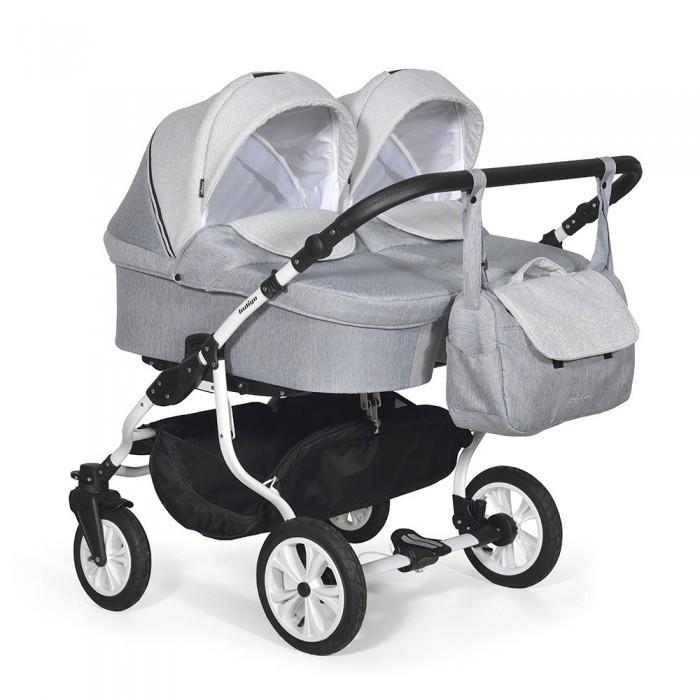 коляски для двойни и погодок Коляски для двойни и погодок Indigo Коляска для двойни Charlotte 18 Duo 2 в 1 белая рама