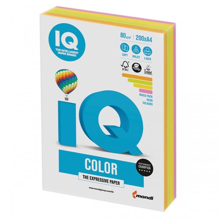 IQ Color Бумага цветная Микс Неон А4 200 листов