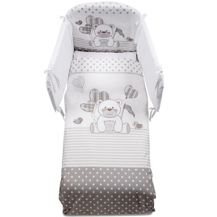 Комплект в кроватку Italbaby Ku Ku (5 предметов)Ku Ku (5 предметов)Комплект в кроватку Italbaby Ku Ku (5 предметов) с веселым рисунком в виде очаровательного мишки и птичек в стиле коллекции.  Все постельное белье изготовлено из гипоаллергенных материалов и полностью безопасно для малыша. Покрытие выполнено из нежнейшего 100% хлопка.   В комплекте: тонкое стеганое одеяло 75х130 см  пододеяльник 100х130 см  мягкий бампер 195х40 см  наволочка 40х60 см  простынь<br>