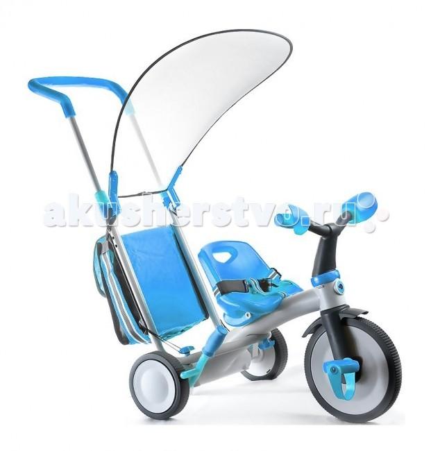 Велосипед трехколесный Italtrike EvolutionEvolutionВелосипед 3 в 1: Трехколесный велосипед + коляска Italtrike Evolution, серия Супердизайн! (см. картинки).   Велосипед коляска Evolution это эволюция в мире велосипедов. Новейшая технология материалов резины, латекса и пластика. Предназначена для детей от 6 месяцев до достижении веса 30 кг.   Особенности:   коляска для малыша от 6 месяцев:  съемный блок с мягким матрасом   5-точечные ремни безопасности   съемный поручень   защитный тент на основе новых технологий защищает от дождя и солнца  тормоз-фиксатор колес. 3-колесный велосипед от 10 месяцев:   удобная ручка-рычаг-3 положения высоты для любого роста родителя   фиксатор хода на переднем колесе   мягкие и бесшумные колеса   сумка для родителей   тормоз задних колес 3-колесный велосипед от 2-х лет:   очень легкий и мягкий ход   простота управления  Расцветка: розовый, голубой. Вес: 10 кг.<br>