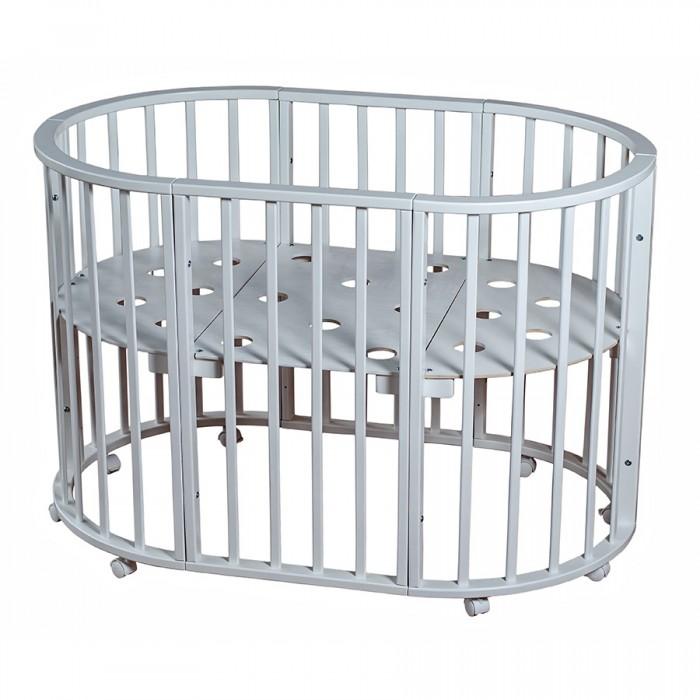 Кроватка-трансформер Ивашка Мой Малыш круглая-овальная НикольМой Малыш круглая-овальная НикольДетская кроватка Ивашка Мой Малыш круглая-овальная Николь имеет 3 уровня ложа: глубина кроватки в верхнем положении 35 см, в среднем положении 53 см, в нижнем положении 70 см.  Особенности: Кровать-трансформер с рейками на безопасном расстоянии. Передвигается на 8 колесиках. Покрытие: лак -НЦ218 (Казань), эмаль - НЦ-251 (Казань). Три варианта использования: Круглая кроватка 75х75 см; Овальная кроватка 125х75 см; Манеж для игры и сна 125х75 см.<br>