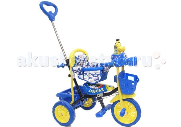 Велосипед трехколесный Jaguar MS-0545-1MS-0545-1Трехколесный велосипед Jaguar MS-0545-1 для детей на возраст от 9 месяцев до 2 лет.  Комплектация: Музыкально-световая кнопка Ручка управляющая передним колесом Мягкая резина Корзинка 2 шт. Подножка Клаксон Страховочный обод и сетка. Длина 70 См Ширина 41 См Высота 66 См Вес 6 кг Муз. Панель Размер колес: 10 Дюймов Штанишки Регулировка Сидения Ручка Управления Сигнал Материал Колес: Пластик + Резиновая Накладка  Внимание! Игрушка на руле велосипеда может отличаться от представленной на фото!<br>
