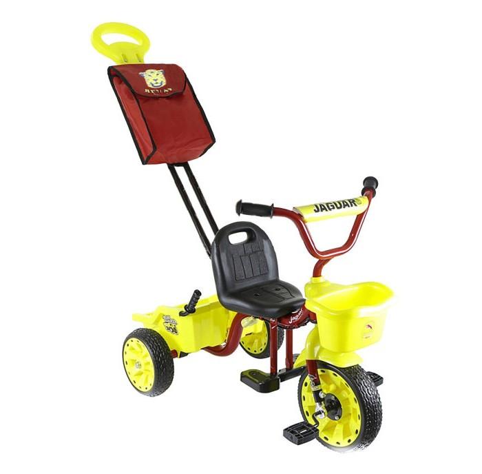 Велосипед трехколесный Jaguar MS-0569MS-0569Трехколесный велосипед Jaguar MS-0569 для детей на возраст от 9 месяцев до 2 лет.  Комплектация: - Тент - Багажник-самосвал - Облегченная конструкция рамы - Широкие резиновые колеса - Сиденье со спинкой и страховочным ремнём - Ручка управляющая передним колесом - Регулировка седла и руль.<br>