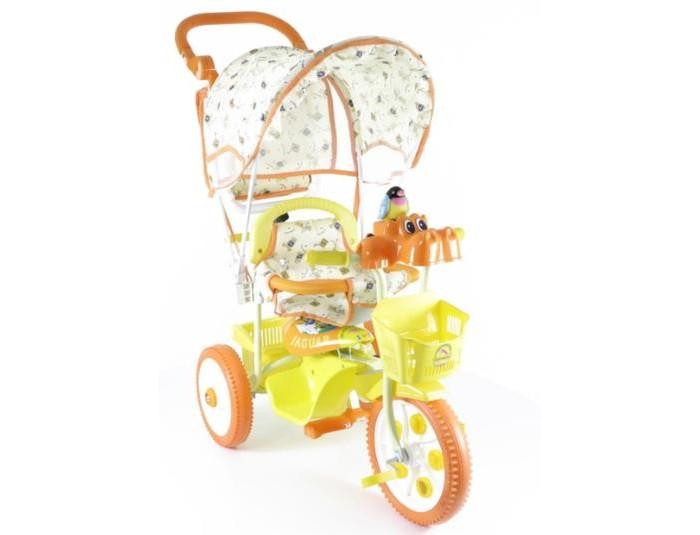 Велосипед трехколесный Jaguar MS-0737 КMS-0737 КТрехколесный велосипед Jaguar MS-0737 К для детей на возраст от 6 месяцев до 2 лет.  Комплектация: - Тент - Музыкально-световая кнопка - Увеличенные колеса - Удлененная рама - Колясочная ручка управляющая передним колесом - Мягкая резина - Корзинка 2 шт. - Страховочный обод и сетка - Регулировка седла.<br>