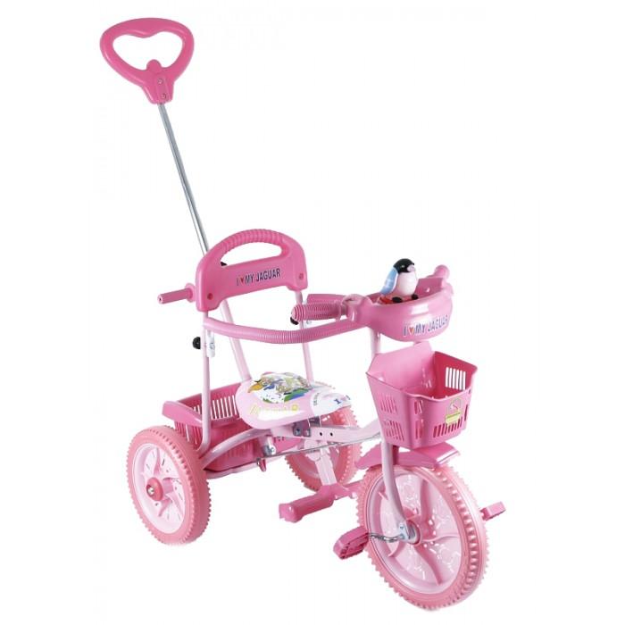 Велосипед трехколесный Jaguar MS-0739MS-0739Трехколесный велосипед Jaguar 0739 для детей на возраст от 9 месяцев до 2 лет.  Комплектация:  - Удлиненная рама - Увеличенные колеса - Ручка управляющая передним колесом - Мягкая резина - Подножка - Клаксон - Страховочный обод - Корзинка 2 шт. - Регулировка седла.<br>