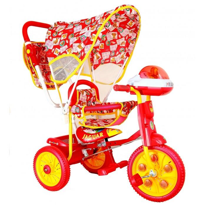 Велосипед трехколесный Jaguar MS-0747 КMS-0747 КТрехколесный велосипед Jaguar MS-0747 К для детей на возраст от 9 месяцев до 2 лет.  Комплектация: Удлиненная рама Увеличенные колеса: переднее 12 см, заднее 10 см Колясочная ручка управляющая передним колесом Мягкая резина Страховочный обод и сетка Тент Подножка Сумка для мамы Большая музыкальная панель Корзинка Регулировка седла.<br>