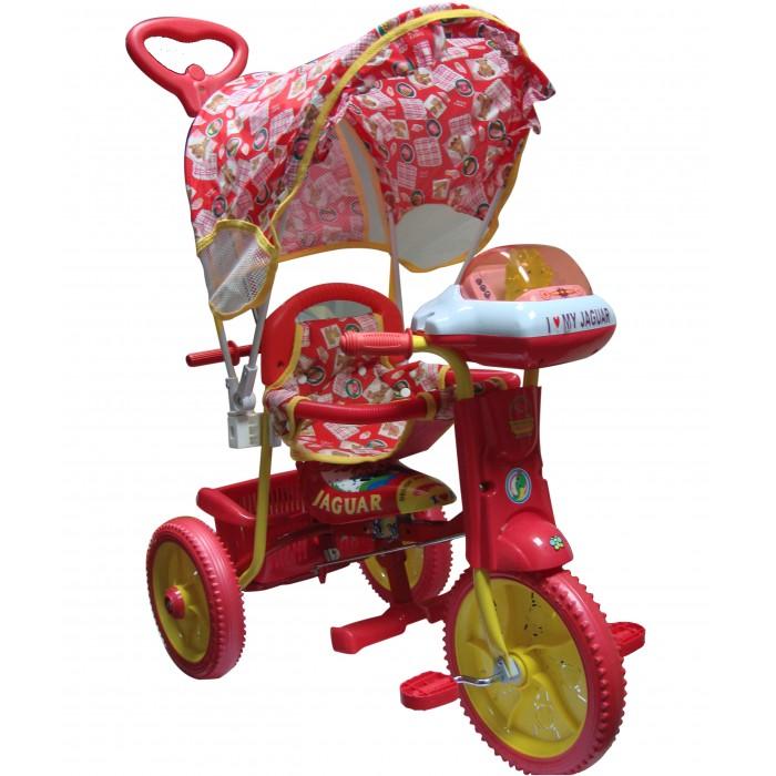 Велосипед трехколесный Jaguar MS-0747MS-0747Трехколесный велосипед Jaguar MS-0747 для детей на возраст от 9 месяцев до 2 лет.  Комплектация: - Удлиненная рама; - Увеличенные колеса; - Ручка управляющая передним колесом; - Мягкая резина; - Страховочный обод и сетка; - Тент; - Подножка; - Большая музыкальная панель; - Корзинка; - Регулировка седла;<br>