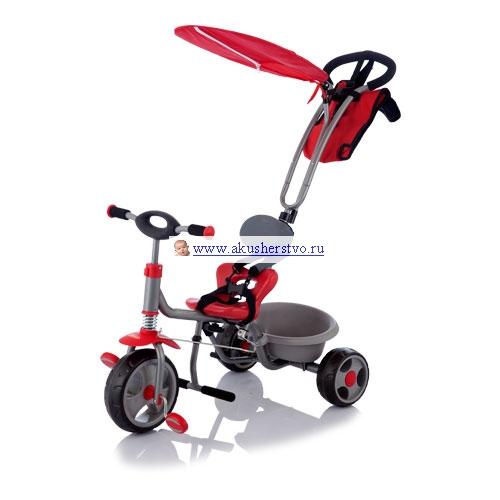 Велосипед трехколесный Jetem ChopperChopperДетский велосипед трехколесный с ручкой Chopper Jetem (Capella) подходит для ребенка, который уже начинает ходить (1-1.5 года) и до 3-4 лет (до 25 кг). Велосипед изготовлен из легких и нетоксичных материалов. Цельнометаллическая рама обеспечивает легкость и прочность конструкции. Колёса трехколесного велосипеда Jetem Chopper пластиковые и достаточно широкие для придания устойчивости.  Для безопасности вашего малыша предусмотрено наличие 5-ти точечных ремней безопасности с мягкими накладными прокладками, возможность блокировки и разблокировки колес/руля, удобная подножка для ребенка он ставит на неё ножки и можно ехать с использованием родительской ручки. Также поворотная ручка переднего колеса для родителей поможет дополнительно держать под контролем движение велосипеда с ручкой.  В зависимости от роста и возраста малыша есть возможность регулировать расстояние между сидением и рамой (3 позиции).  Вместительный багажник трехколесного детского велосипеда с ручкой для родителей Jetem Chopper позволит ребенку взять на прогулку свои любимые игрушки. Летом защитный козырек отлично защитит малыша от жаркого солнца.  А когда ребенок уже научится уверенно ездить на трехколесном велосипеде, можно снять ручку и спинку, чтобы предоставить полную самостоятельность в катании. Удобное сидение, амортизатор переднего колеса, мягкая ручка на руле для более удобной транспортировки трехколесный детский велосипед с ручкой и набором таких функций обязательно станет любимой игрушкой вашего малыша!<br>