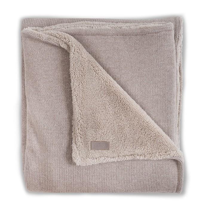 Пледы Jollein Вязаный с мехом Natural knit anthracite 100х150 вязаный плед с мехом 100х150 см jollein stonewashed knit navy