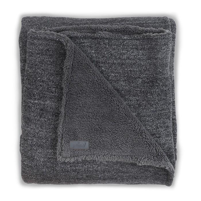 Пледы Jollein Вязаный с мехом Natural knit anthracite 75х100 вязаный плед с мехом 100х150 см jollein stonewashed knit navy