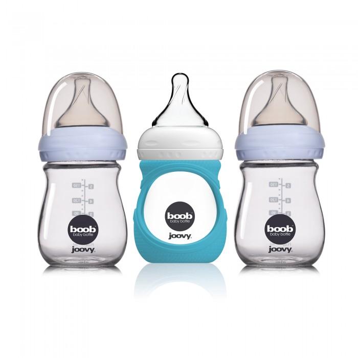 Купить Наборы для кормления, Joovy Набор стеклянных бутылочек с силиконовым чехлом Boob Baby 150 мл