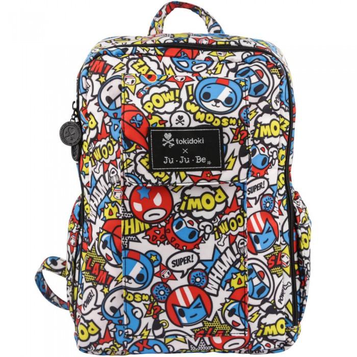 Ju-Ju-Be Рюкзак для мамы Mini Be TokidokiСумки для мамы<br>Ju-Ju-Be Рюкзак для мамы Mini Be Tokidoki – прекрасная замена для сумки, когда вам надо гулять с активным ребенком и держать руки свободными.  Рюкзак Mini Be нравится и взрослым и детям, которые с радостью будут носить в нем свои вещи. В такой рюкзак легко войдут бумаги формата А4 или iPad.  Особенности: Ортопедические элементы, содержащиеся в спинке, а также воздухообменная сетка гарантируют правильное распределение нагрузки по спине Мягкие плечевые лямки легко приспособляются под особенность вашей фигуры, а легко обхватываемая ручка позволяет нести рюкзак в руке, если это необходимо Удлиненные молнии в основании помогут вам  легко найти все, что необходимо, даже если это спрятано на дне сумки под сотней других вещей. Специальный карман на молнии позволяет положить туда, например, документы, или мокрые вещи Внешнее отделение закреплено на кнопке, что позволяет быстро достать вещь, которую лучше всегда держать под рукой Металлические молнии и застежки не подведут вас в самый неудобный момент, как это может произойти с пластиком Покрытие Teflon обеспечивает защиту от пятен Антимикробная подкладка с ионами серебра, позволит вам легко и без каких-либо усилий найти то, что вам нужно Два термокармана позволяют сохранить бутылочки в нужной температуре Рюкзак легко стирается в стиральной машине.