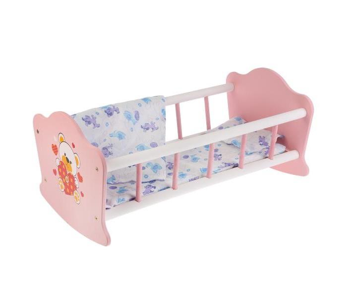Кроватка для куклы Карапуз Мой мишка деревянная 52 см