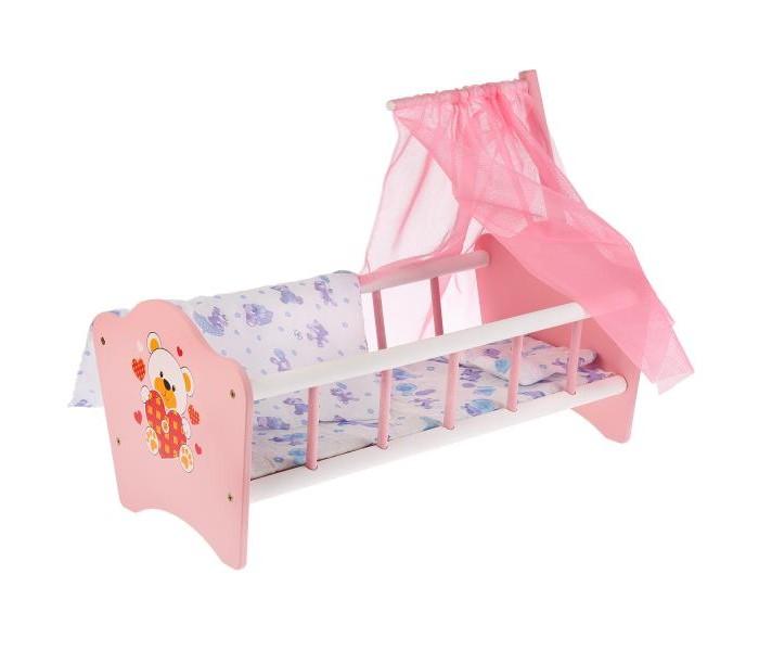 Кроватка для куклы Карапуз Мой мишка деревянная 52 см RB-B-C фото