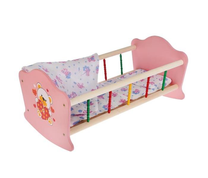 Кроватка для куклы Карапуз Мой мишка деревянная с пластиковыми элементами 52 см