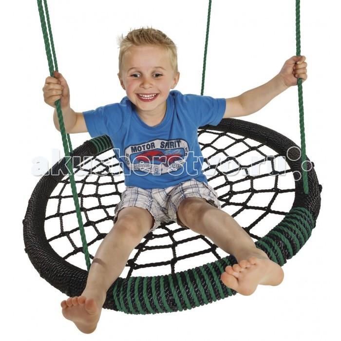 Качели KBT ОvalОvalКачели KBT Оval помогут вашему ребенку весело провести досуг. Их легко можно закрепить на турнике или перекладине спортивного комплекса. Качаясь на качелях, ребенок развивает координацию движений и вестибулярный аппарат.  Особенности: Детские качели Оval имеют 4 крепления и надежно подвешиваются за них Мягкая плетеная внутренняя часть Кольца и восьмерки сделаны из гальванизированной стали Габариты сиденья: 60 х 60 х 10 см<br>