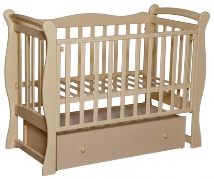 Детская кроватка Кедр Любаша-5 (поперечный маятник)Детские кроватки<br>Кедр Кровать Любаша-5 (поперечный маятник) изготовлена из натурального дерева, покрытого нетоксичными лаками.  Кроватка-маятник поперечного качания Оборудована ящиком для детских вещей Ложе кроватки имеет два уровня высоты Боковина у кроватки откидная Размеры под матрас: 120 х 60 см