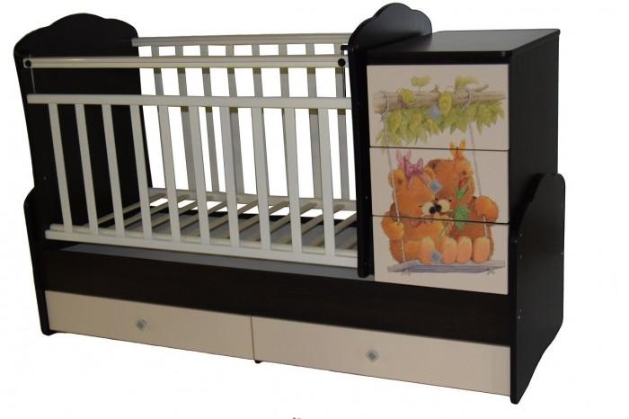 Кроватка-трансформер Кедр Martina 1 Teddy фигурные спинки поперечный маятник