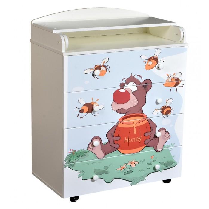 Комоды Кедр с пеленальной доской Fantasia Little bee с шариковыми направляющими