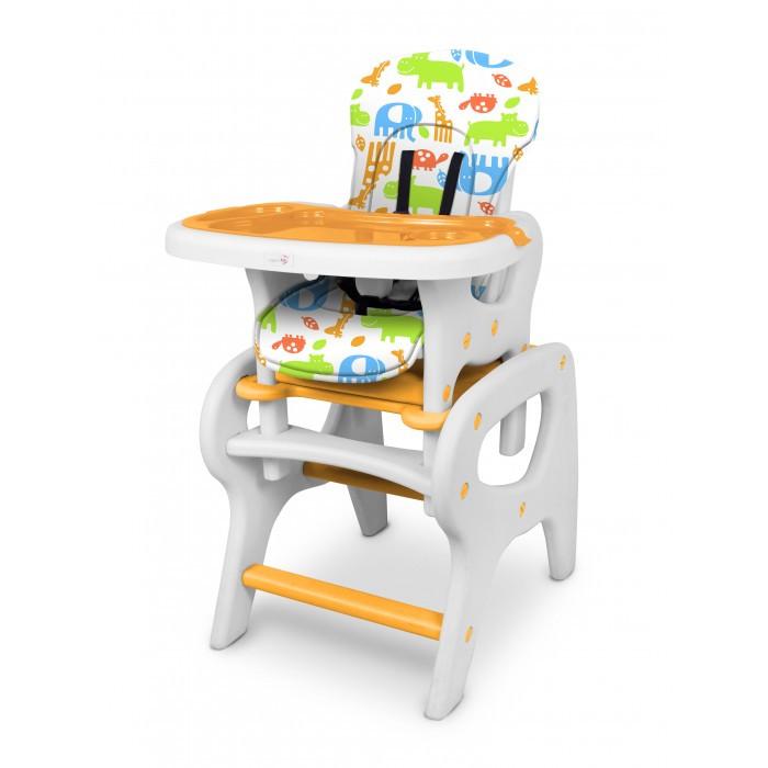 Стульчик для кормления Kenga YB601AYB601AСтульчик для кормления Kenga YB601A - трансформируется в стул со столом.   Пока ваш кроха маленький и не может обойтись без помощи мамы - стул можно использоваться как высокий стульчик для кормления.  А для уже подросшего малыша, его можно трансформировать в комплект мебели - стол и стул для детских занятий, игр и принятия пищи.   Имеет пятиточечные ремни безопасности, три положения наклона спинки, съемный обеденный поднос, регулируемый по глубине в трех позициях, тканевое сидение (легко снимается и просто мыть).   Выполнен стульчик из полностью безопасных материалов.  Особенности: рекомендован для детей c 6 месяцев до 5 лет, весом менее 18 кг легко трансформируется в стульчик с партой регулировка наклона спинки в 3 положениях 3 положения глубины столешницы 5-ти точечные ремни безопасности дополнительная съемный поднос из легко моющегося пластика мягкая, моющаяся обивка сиденья  изготовлен из лёгкого, прочного пластика Внешние размеры: 57 х 52 х 100 см. Размеры сидения: 30 х 30 см Вес: 9 кг.<br>