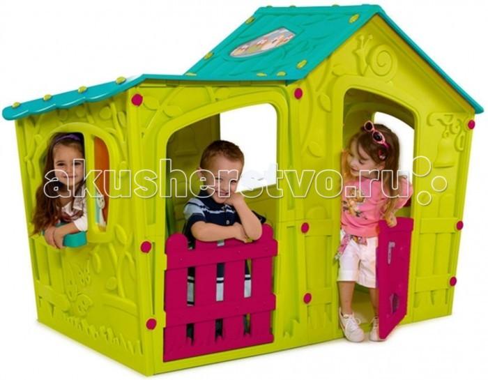 Keter Игровой домик Magic VillaИгровой домик Magic VillaKeter Magic Villa - идеальное место для игр вашего малыша. Благодаря упрочненному гигиеничному пластику из современных материалов яркой расцветки, этот домик станет украшением как сада или двора, так и помещения. Домик легко собирается, не выгорает на солнце и не боится мороза. Замечательная игровая зона для ваших детей. Для сборки не требуется никаких инструментов, а сам процесс займет всего пару минут.  Материалы: - долговечный пластик, устойчивый к выгоранию  Особенности: - рекомендуется для детей от 2-3-х лет - прочная конструкция - быстро собирается и компактно складывается - все элементы соединяются между собой специальными защелками и гайками, входящими в комплект - не требует специального инструмента для сборки и разборки - удобный красивый вместительный домик для веселой игры на свежем воздухе - яркие цвета и оригинальный дизайн  - двери открываются как у настоящего дома - подходит как для одного малыша, так и для коллективных игр.  Общие размеры(дхшхв): 110х169х126 см Габариты в упаковке: 130x100x22 см<br>