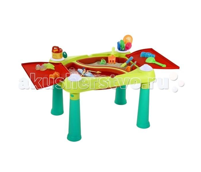 Keter Столик-песочница для игр с водой и пескомСтолик-песочница для игр с водой и пескомСтолик для игр с песком и водой - подходит для игр целой компанией. Поднятая над землей игровая поверхность позволяет меньше пачкать одежду Ваших детей во время игр с песком и водой. Внутри столика 2 съемные чаши для песка или воды. Их удобно вынимать для наполнения и очистки. В комплекте формочки для песка и емкости для воды. Столик имеет две откидные крышки, которые прекрасно защищают песок и воду от пыли и ветра. Кроме того в раскрытом состоянии они служат дополнительными столешницами.  Чаши вмещают до 15 л воды. Макс. нагрузка 30 кг. Размеры (дхшхв): 79х56х50 см Размеры упаковки: 79х61х16 см Вес: 4,6кг<br>