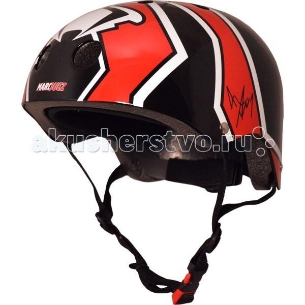 Kiddi Moto Шлем Marc Marquez с автографом гонщикаШлем Marc Marquez с автографом гонщикаШлем – лучший головной убор велосипедиста!  Даже небольшое падение может закончиться тяжелыми последствиями, если ребенок ударится головой.  Надежной защитой головы от ударов служит велосипедный шлем. Благодаря шлему поверхность удара увеличивается, а шлем вместо головы принимает всю силу удара на себя. Защитный шлем специально разработан, чтобы защитить голову ребенка и лоб от тяжелых травм при падениях.  Рекомендуется всегда одевать шлем во время катания ребенка на велосипеде, самокате, роликовых коньках, скейте.  Надежную защиту велосипедиста от ударов головой дает шлем, проверенный и сертифицированный по стандарту CE. Шлем должен использоваться по назначению! Ребенок не должен заниматься играми и лазаньем в защитном шлеме, так как, падая, он может зацепиться и повиснуть на ремне шлема. Застежка шлема не предназначена для автоматического открывания, в результате чего может наступить удушье. Ребенок, находящийся в шлеме, не должен оставаться без присмотра взрослого человека. После езды на детском транспорте необходимо снять защитный шлем.  Шлем должен плотно держаться на голове ребенка в момент падения или другого происшествия. Поэтому важно подобрать ребенку шлем правильного размера. Шлем можно подогнать под голову ребенка с помощью мягких прокладок внутри шлема. Шлем надевают до уровня бровей так, чтобы он защищал виски и лоб, на которые обычно приходится удар при падении. Затем регулируют стропы. Стропы натянуты правильно, когда палец взрослого проходит между подбородком ребенка и стропами шлема и когда шлем плотно держится при наклоне головы вперед.  Характеристики шлема: сверхлегкий корпус шлема сделан из специального прочного ABC-пластика внутренний корпус из EPS пены со съемной амортизирующей подкладкой соответствует стандартам ASTM F 1447, ANSI Z90-4, CPSC и CE для велосипедных шлемов удобная посадка - размер шлема легко регулируется на затылке с помощью притяжного крепл