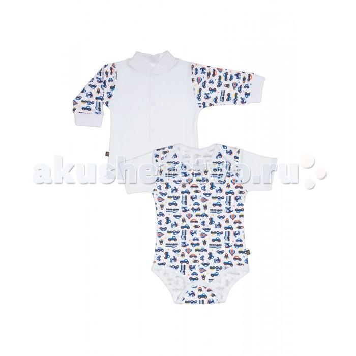 Комплекты детской одежды Kiddy Bird Комплект №10 Боди с коротким рукавом и кофточка Машинки