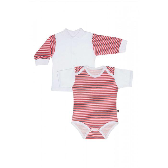 Комплекты детской одежды Kiddy Bird Комплект №10 Боди с коротким рукавом и кофточка в полоску Точки-полоски