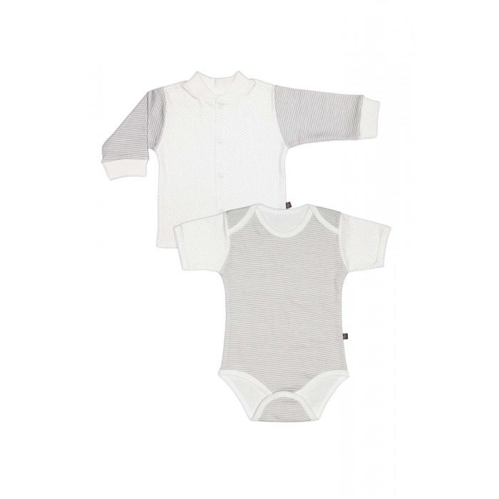 Комплекты детской одежды Kiddy Bird Комплект №10 Боди с коротким рукавом и кофточка Точки-полоски