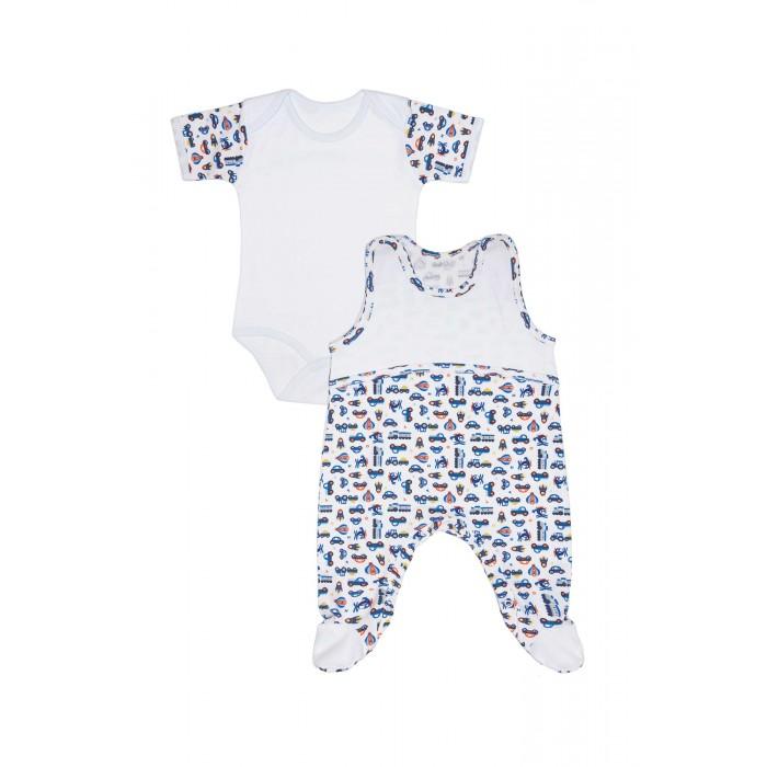 Комплекты детской одежды Kiddy Bird Комплект №11 Боди с коротким рукавом и высокие ползунки Машинки