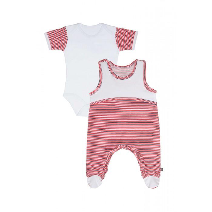 Комплекты детской одежды Kiddy Bird Комплект №11 Боди с коротким рукавом и высокие ползунки в полоску Точки-полоски