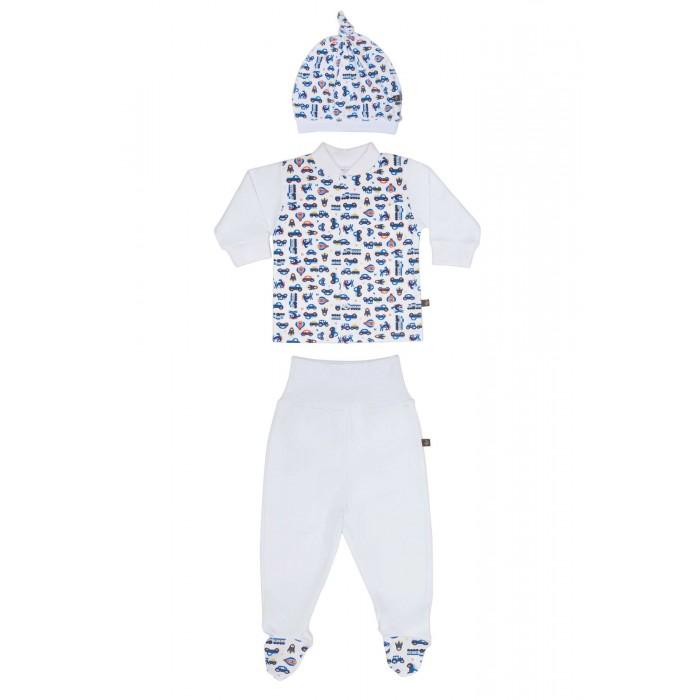 Комплекты детской одежды Kiddy Bird Комплект №9 из Кофточки, ползунков и шапочки Машинки kiddy bird на еврорезинке голубые
