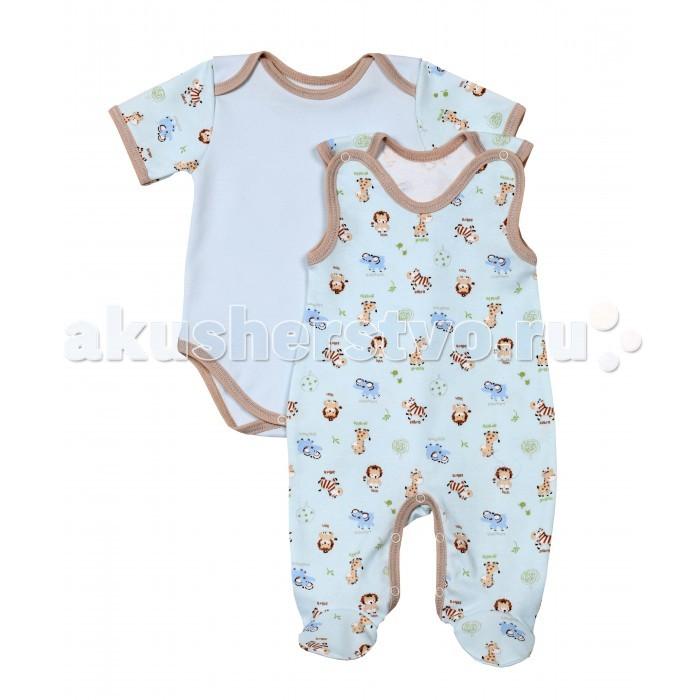 Комплекты детской одежды Kiddy Bird Комплект Зоопарк (полукомбинезон+боди)