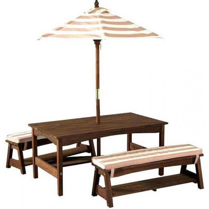 KidKraft Стол с двумя скамейками и зонтом 107х58х49 см.