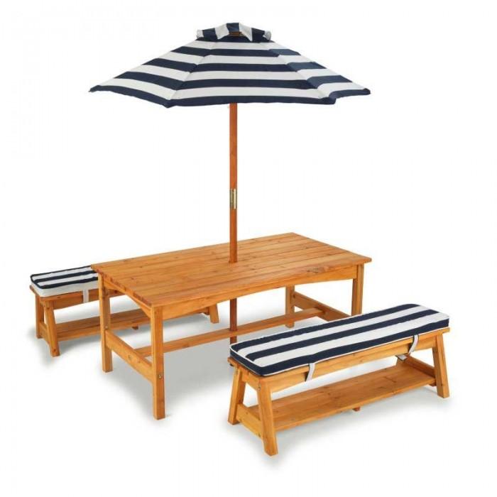 KidKraft Стол с двумя скамейками и зонтом 91х49х52 см.