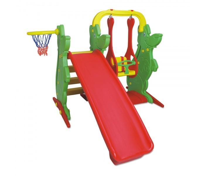 King Kids Игровой комплекс KK_KS9060-AИгровой комплекс KK_KS9060-AKing Kids Игровой комплекс KK_KS9060-A принесет смех и радость малышам. Как только ребенок научился уверенно ходить, он может развлекаться на этом игровом комплексе. Кто же из детей не любит спускаться с горки, кататься на качелях, бросать мяч в баскетбольную корзину, тем самым развивая ловкость и меткость.   Комплекс поможет детям развиваться физически, также малыш будет фантазировать. На этом комплексе малыш может играть сам или с родителями, а еще интереснее делать это с друзьями. Места хватит всем, а родители будут радоваться детскому веселому смеху.  Особенности: подходит для детей с 2 лет под присмотром родителей сделан из высококачественного, прочного, безопасного для детей пластика все края игрового комплекса закруглены, малыш не поранится состоит из горки, качелей, баскетбольной корзины на горку можно подняться по ступеням с шероховатой поверхностью, благодаря которой малыш не соскользнет со ступеней качели для малышей с защитным ограждением заинтересуют малыша с самого маленького возраста в баскетбольную корзину можно бросать мяч, тренируя меткость с раннего детства зоны игрового комплекса легко менять местами комплекс легко собирается и разбирается игровой центр легко содержится в чистоте, его достаточно протирать влажной тканью. Высота комплекса 122 см Ширина комплекса 115 см Длина скользящей поверхности 152 см.<br>