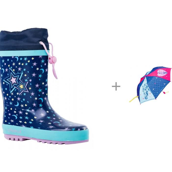 Купить Резиновая обувь, Котофей Сапоги резиновые для девочки 366177 с зонтиком Spiegelburg Pferdefreunde