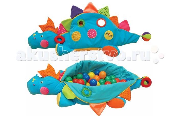 KS Kids Сухой бассейн BossСухой бассейн BossРазвивающий центр Boss KS Kids. Множество ярких элементов украшают динозавра. Безопасное зеркальце на липучке, материалы разной фактуры, расстегивающийся цветной гребень, шуршащие окошки. Если расстегнуть застежку спинки динозавра, то получится сухой бассейн с пластиковыми разноцветными шариками.Безопасные пластиковые шарики разного цвета оказывают замечательный массирующий эффект и психологическую разрядку, благодаря этому ребёнок будет весело проводить время.   Развивающий центр компактно складывается и не занимает много места, его также можно брать с собой вне дома. Эта игрушка позволит ребёнку развивать физическое, социальное и умственное развитие. Игрушка наверняка понравится вашему ребенку.  Особенности: На динозаве 2 круглых отверстия, через которые малыш может просунуть ручку и, нащупав мячик, вытащить его из центра. На хвосте есть шарик-погремушка  Характеристики : размер упаковки: 51 &#215; 20 &#215; 51 см размеры игрушки – 120 х 38 х 59 см длина динозавра от носа до хвоста 120 см кол-во шариков: 60 шт.<br>