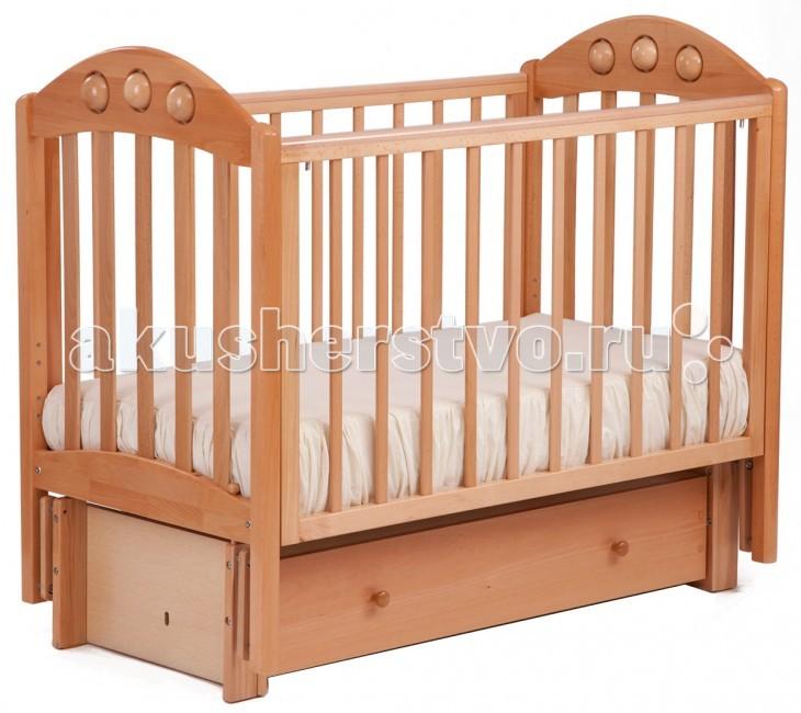 Детские кроватки Кубаньлесстрой АБ 24.3 Орхидея маятник продольный с ящиком
