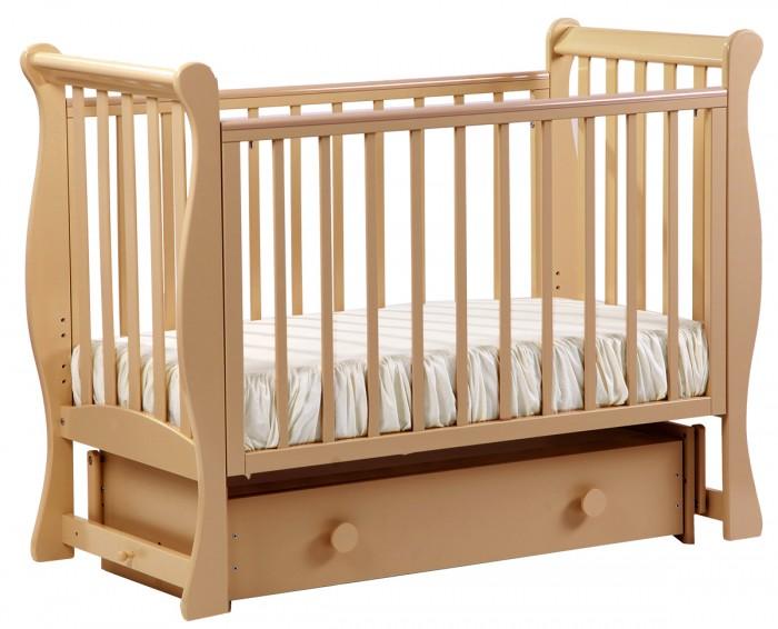Детская кроватка Кубаньлесстрой АБ 21.2 Лаванда маятник поперечный с ящиком фото