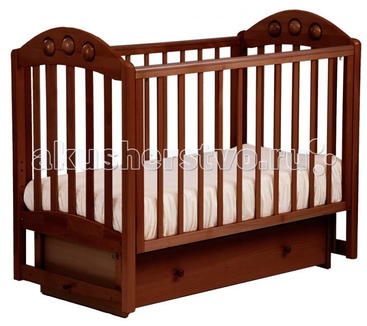 Детская кроватка Кубаньлесстрой АБ 24.2 Орхидея маятник поперечный с ящиком