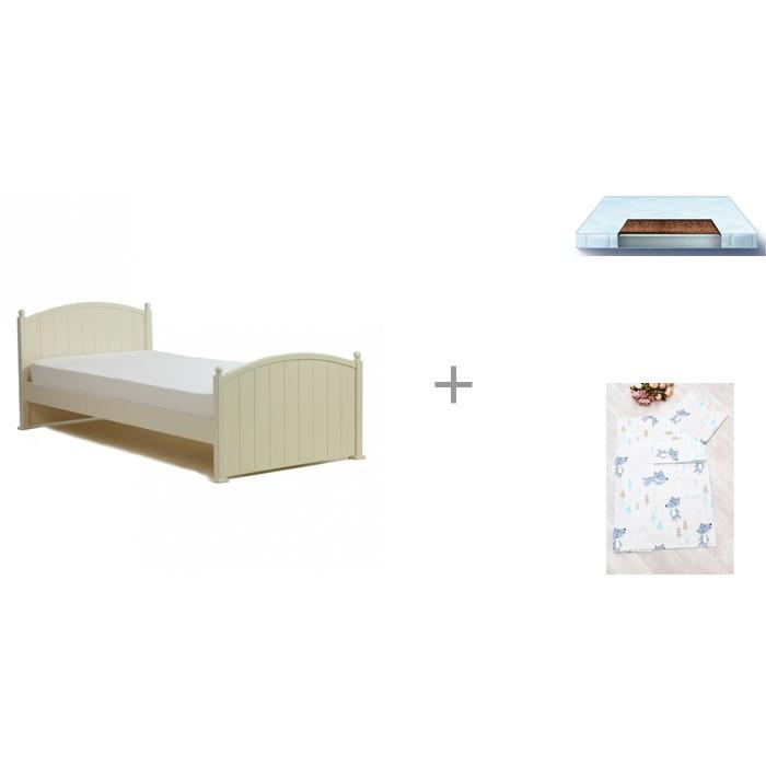 Кровати для подростков Кубаньлесстрой Олимпия + матрас Gradito 160х80 + комплект Time to Sleep В лесу
