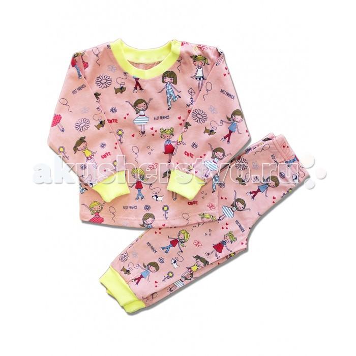 Пижамы и ночные сорочки LalaBaby Пижама длинный рукав (кофточка и штанишки) 812-009 пижамы la pastel пижама кофта с запахом длинный рукав штаны длинные белый голубой размер xl