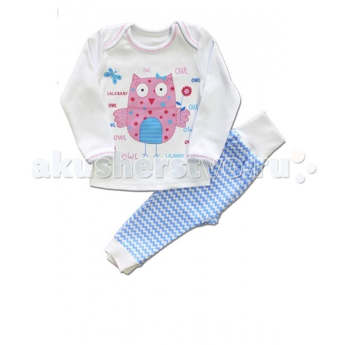 Пижамы и ночные сорочки LalaBaby Пижама длинный рукав (кофточка и штанишки) OWL пижамы la pastel пижама кофта с запахом длинный рукав штаны длинные белый голубой размер xl