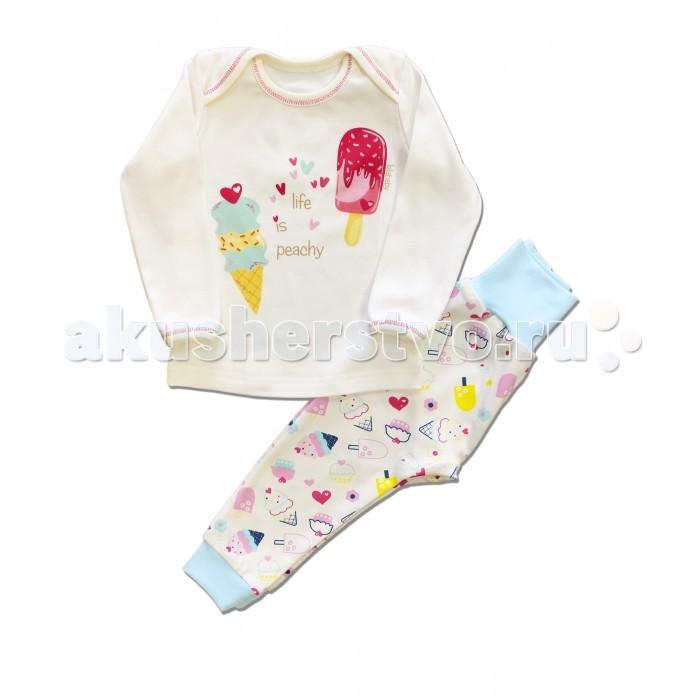 Пижамы и ночные сорочки LalaBaby Пижама для девочки длинный рукав (кофточка и штанишки) Пироженки