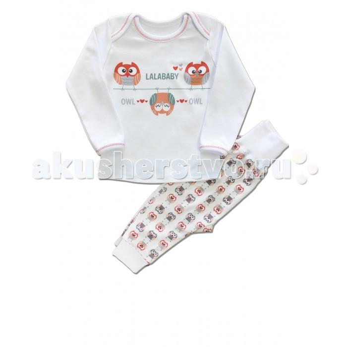 Пижамы и ночные сорочки LalaBaby Пижама для девочки длинный рукав (кофточка и штанишки) Совушки