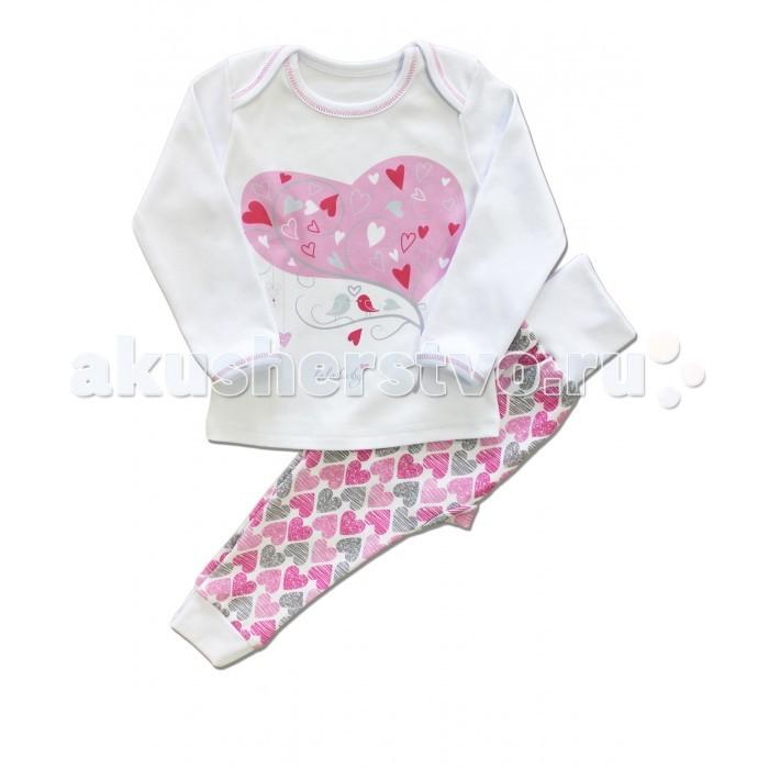 Пижамы и ночные сорочки LalaBaby Пижама для девочки длинный рукав (кофточка и штанишки) Стильные сердечки пижамы la pastel пижама кофта с запахом длинный рукав штаны длинные белый голубой размер xl